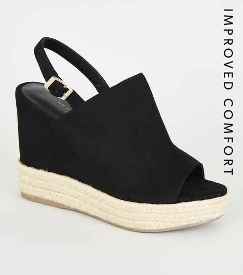e9fd1395d485 ... Black High Vamp Wedge Espadrille Sandals ...