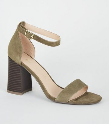 Khaki Suede Curved Block Heel Sandals