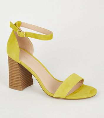 Yellow Suede Flare Block Heel Sandals
