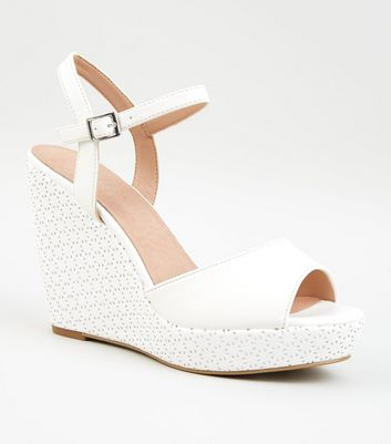 White Comfort Leather-Look Laser Cut Wedges
