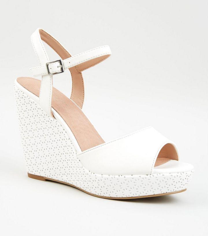 7fc8d9d87 White Comfort Leather-Look Laser Cut Wedges
