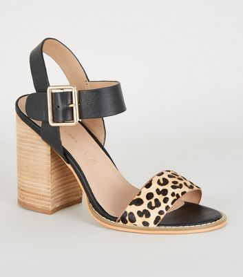 Stone Leather Faux Leopard Strap Sandals