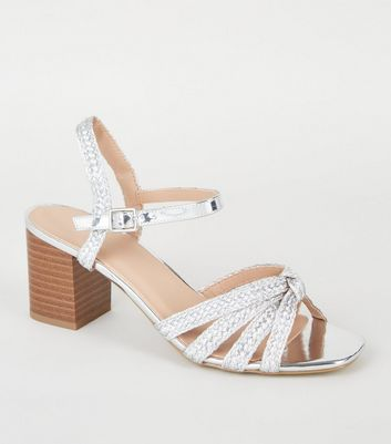 Silver Plait Strap Block Heel Sandals