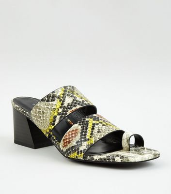 Yellow Faux Snake Toe Loop Heeled Mules