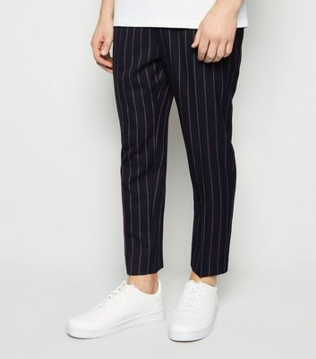 Navy Pinstripe Pull On Trousers