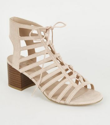 Wide Fit Nude Ghillie Lace Up Sandals