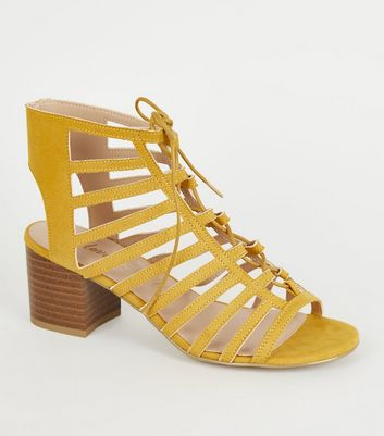 Wide Fit Mustard Ghillie Lace Up Sandals