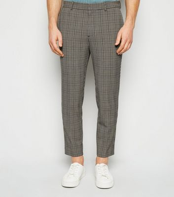 Brown Check Skinny Crop Trousers
