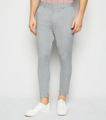 Grey Jersey Pintuck Skinny Crop Trousers