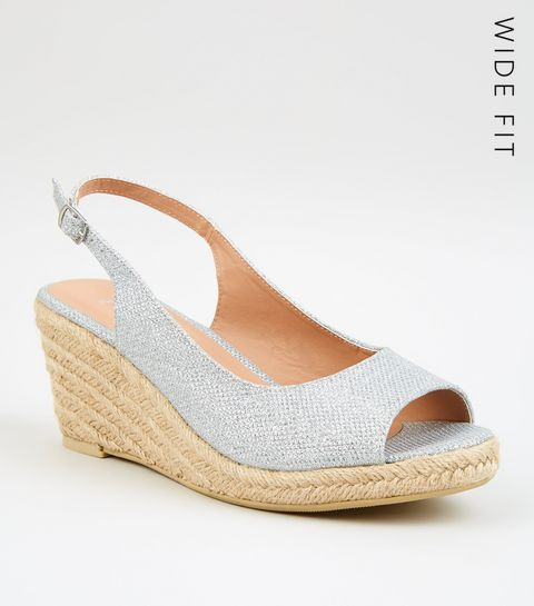 bb0b7e0ac416 ... Wide Fit Silver Glitter Espadrille Wedges ...