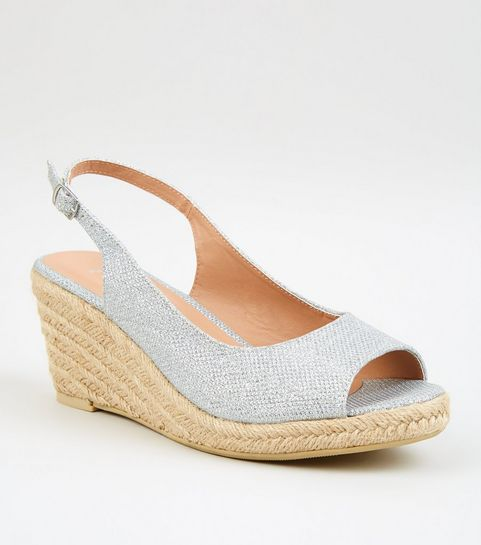 c43a484ce305 ... Wide Fit Silver Glitter Espadrille Wedges ...