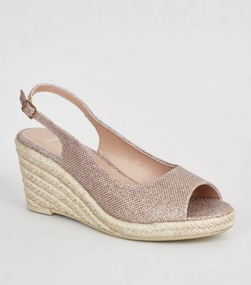 Wide Fit Gold Glitter Espadrille Wedges