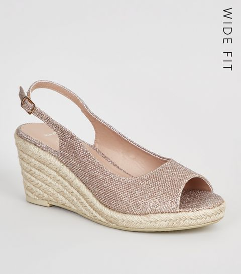 4a1ad3e7d7f9 ... Wide Fit Gold Glitter Espadrille Wedges ...
