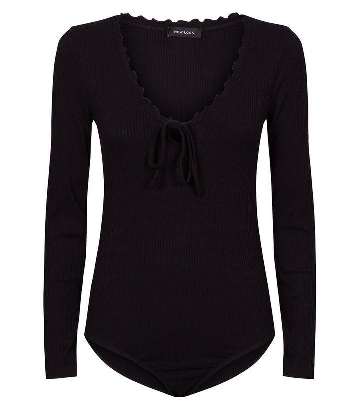125563002e Black Long Sleeve Frill Milkmaid Bodysuit