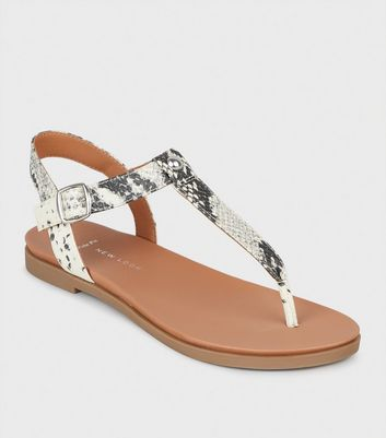 Wide Fit Stone Faux Snake Footbed Sandals