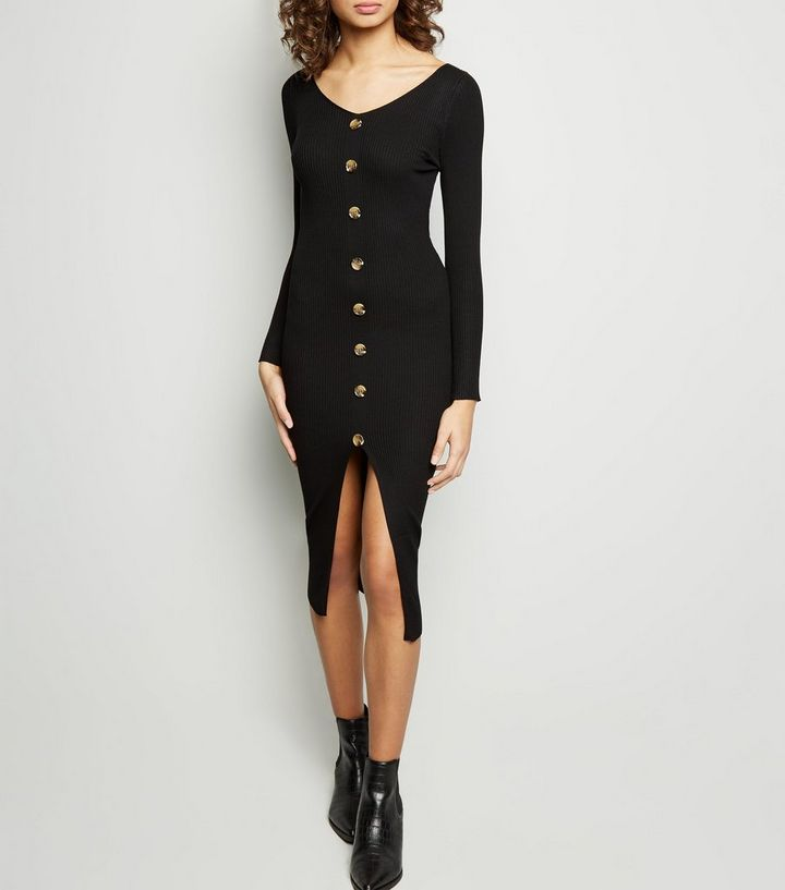 02d0f5567eace Tokyo Doll Black Ribbed Button Front Bodycon Dress | New Look