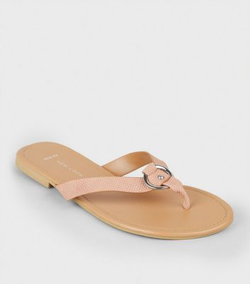 Wide Fit Nude Faux Snake Ring Strap Flip Flops