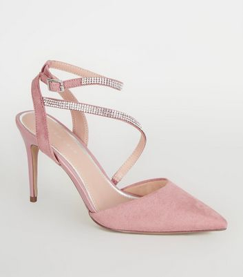 Pink Suedette Diamanté Strap Court Shoes