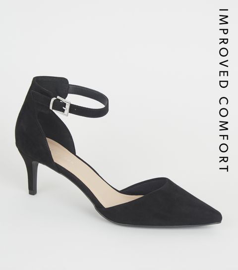 4c778d73a17 ... Black Suedette Pointed Kitten Heel Courts ...