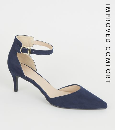 f90f6cc50702 ... Navy Suedette Pointed Ankle Strap Stiletto Heels ...