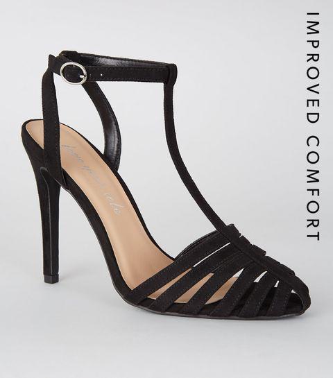e97f8735e3ba37 ... Chaussures à talons aiguilles en suédine noire à lanières ...