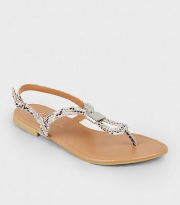 Wide Fit Stone Faux Snake Flat Sandals