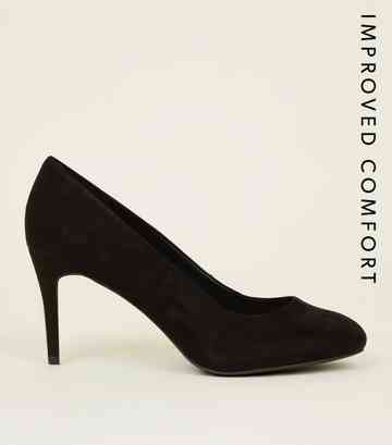 19170bf5b32b2 Black Suedette Stiletto Court Shoes ...