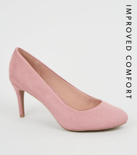 37411236482 ... Pink Suedette Stiletto Court Shoes ...