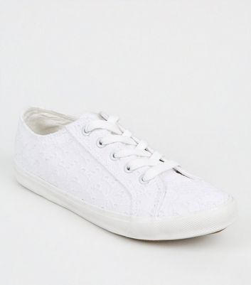 Wide Fit White Broderie Trainers