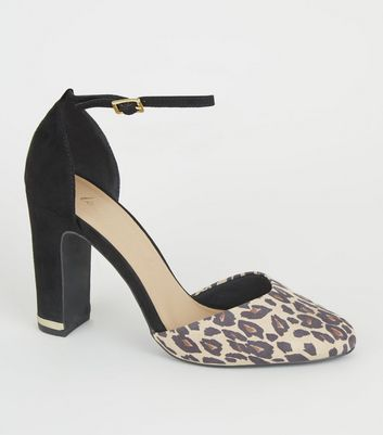 Black Leopard Print Block Heel Courts