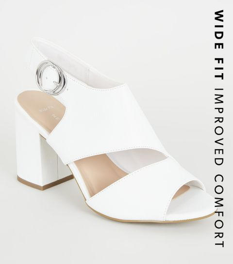 ec56fe666 ... Wide Fit Grey Leather-Look Cut Out Block Heels ...