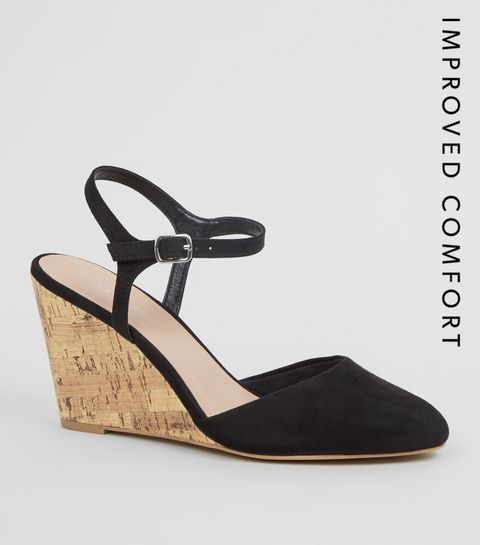 e4747eca4ff7 ... Black Suedette Cork Wedge Heels ...