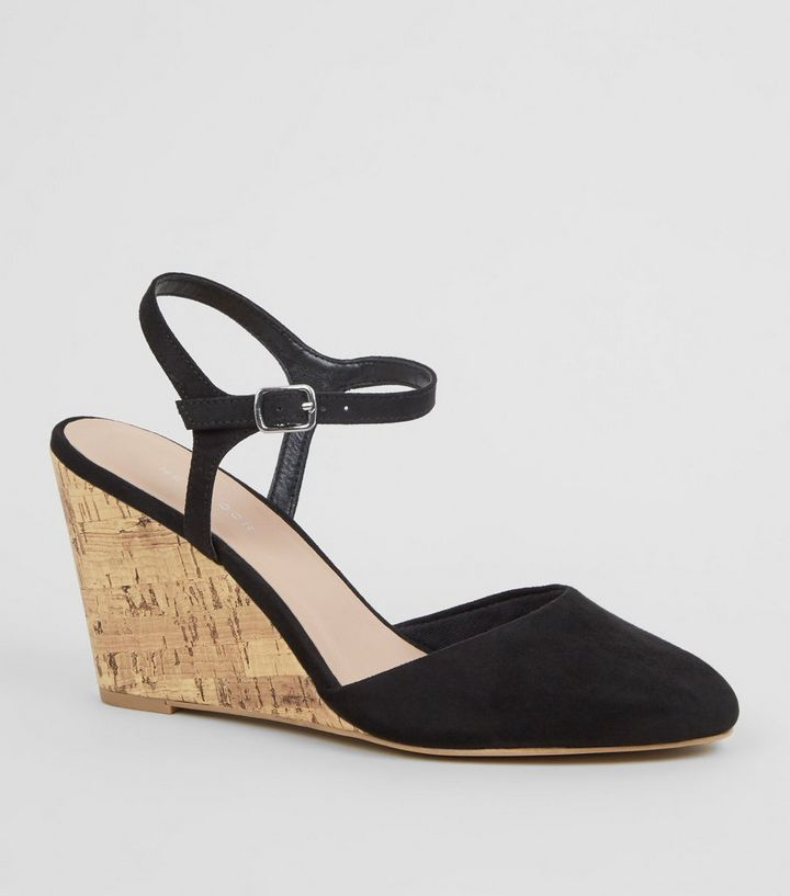 279458154d Black Suedette Cork Wedge Courts | New Look