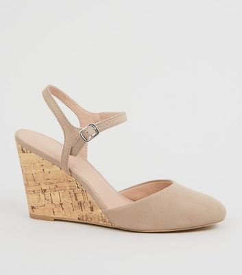 Light Brown Suedette Cork Wedge Heels