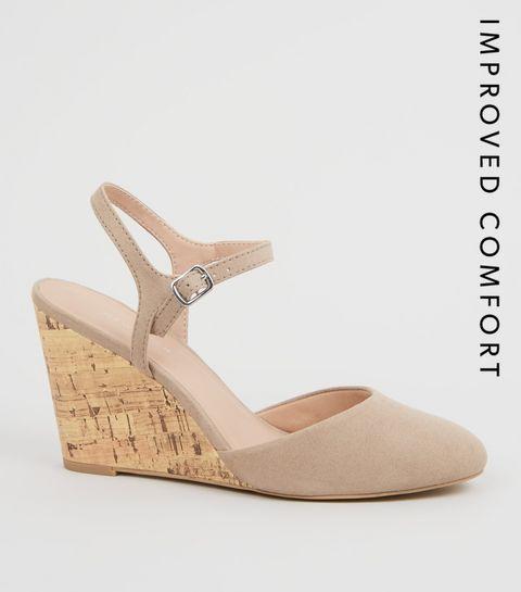 2454098c45b ... Light Brown Suedette Cork Wedge Heels ...
