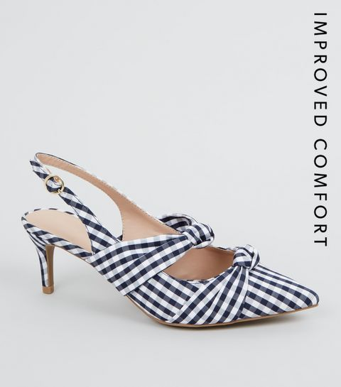 b28547391 ... Blue Check Print Bow Strap Slingback Heels ...