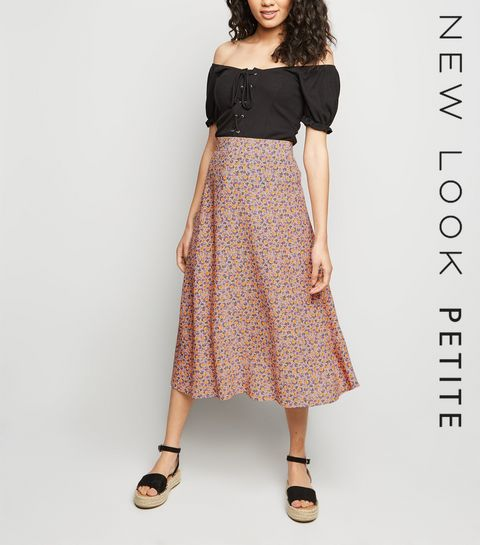 5aa2f2aa958 ... Petite Pink Ditsy Floral Midi Skirt ...