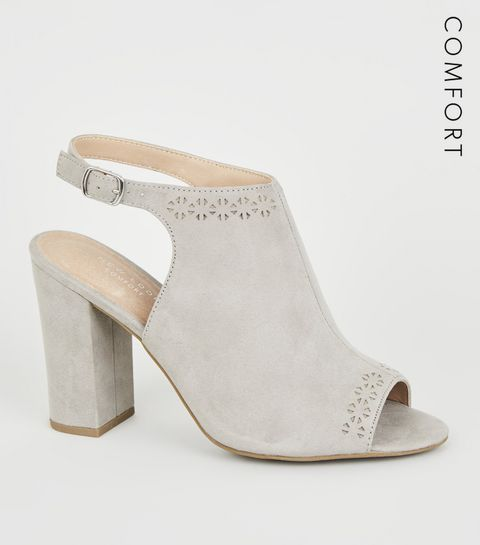 55d0e8ec079 ... Grey Comfort Flex Laser Cut Heels ...