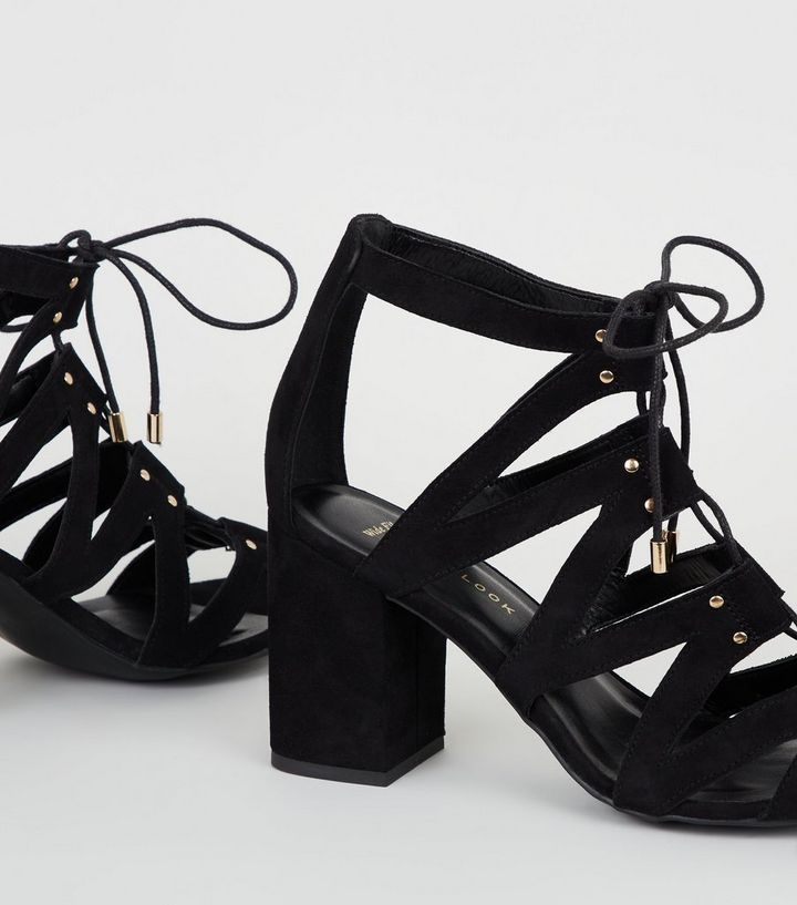 c18ea83e211f ... Wide Fit Black Suedette Lace-Up Ghillie Sandals. ×. ×. ×. Shop the look