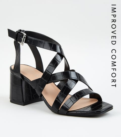 eaf6cb075b7 ... Black Faux Croc Strappy Sandals ...