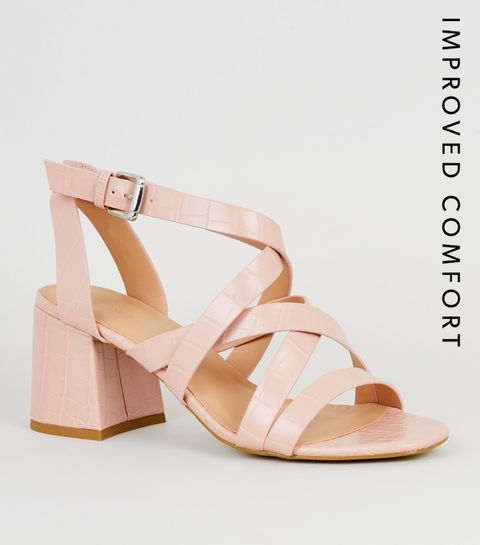 fb74452efa7 ... Pink Faux Croc Strappy Sandals ...