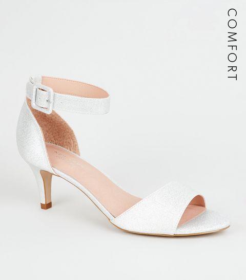 d6bbc7c9d6d ... Silver Comfort Flex Glitter Kitten Heel Sandals ...