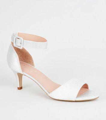 silver sparkle kitten heel shoes