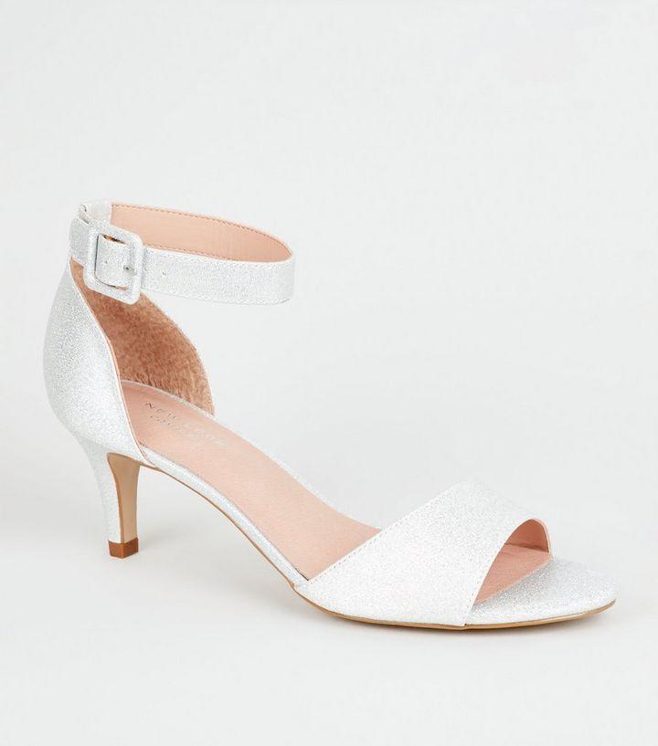 c0fcf927afa Silver Comfort Flex Kitten Heel Sandals