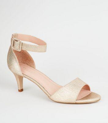 Gold Comfort Flex Kitten Heel Sandals by New Look