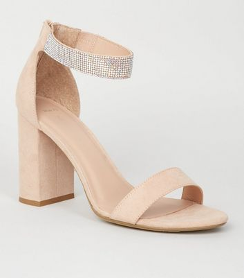 Wide Fit Cream Diamanté Strap Block Heel Sandals