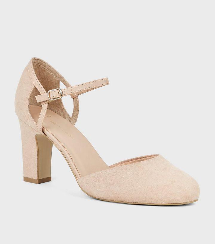 22a5beb3052 Wide Fit Nude Suedette 2 Part Block Heels