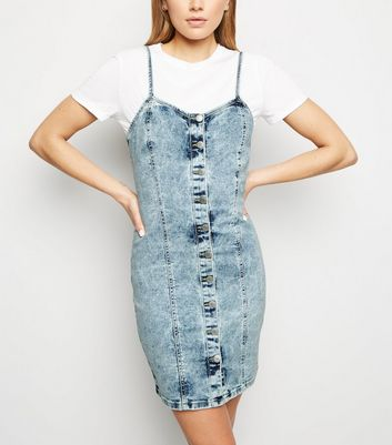 Blue Acid Wash Denim Bodycon Dress