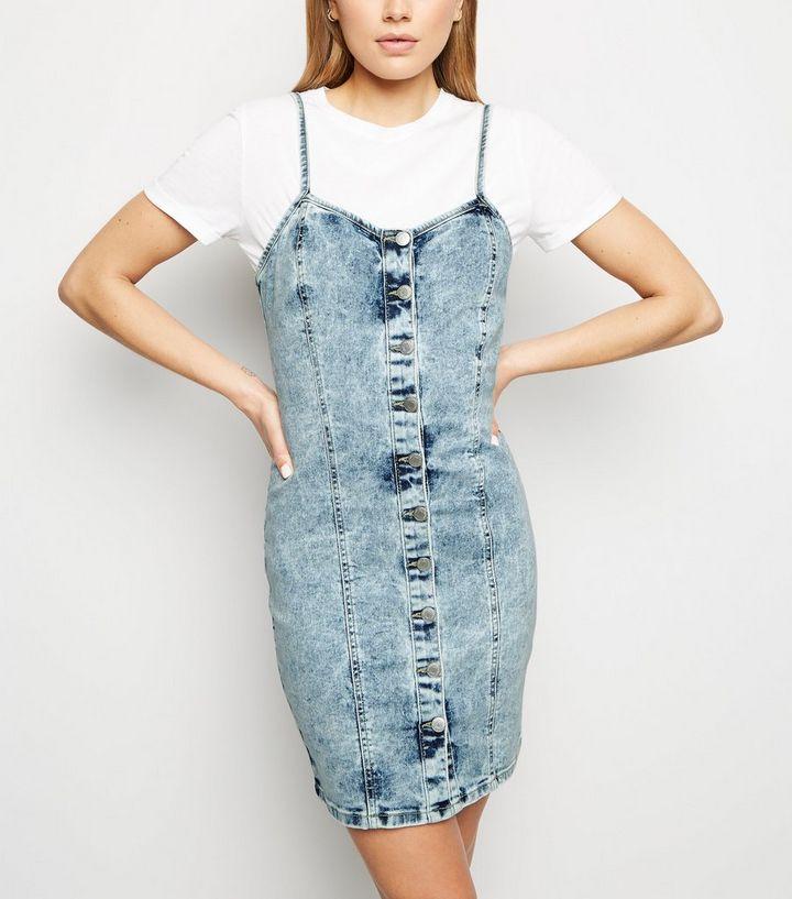 7a6749b33b74 Blue Acid Wash Button Up Bodycon Dress