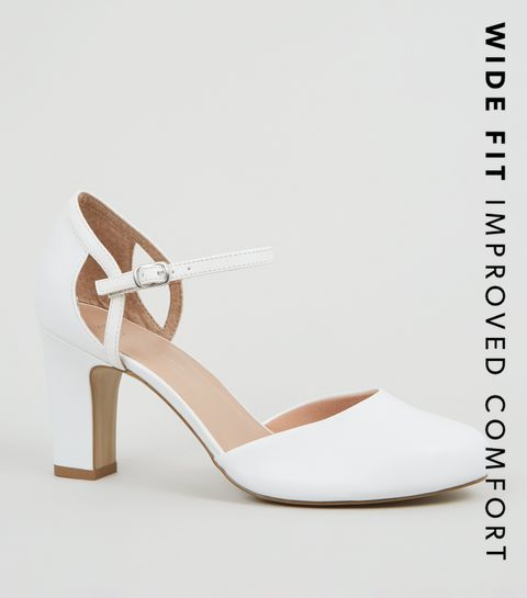 016276994 ... Wide Fit White Leather-Look Block Heels ...
